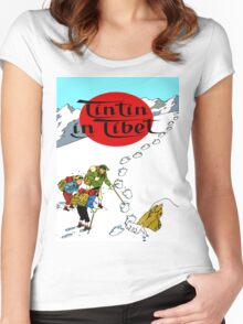 Tintin in Tibet Cover Print Women's Fitted Scoop T-Shirt