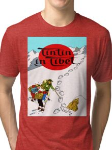 Tintin in Tibet Cover Print Tri-blend T-Shirt