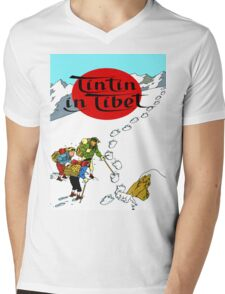 Tintin in Tibet Cover Print Mens V-Neck T-Shirt