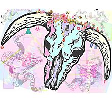 Pretty Pastel cow skull, shadow ram skull Photographic Print