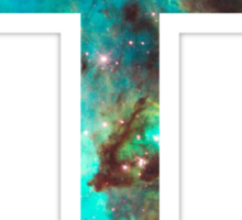 Green Galaxy Cross Sticker