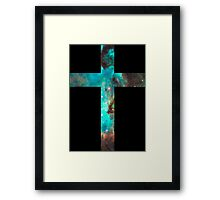 Green Galaxy Cross Framed Print