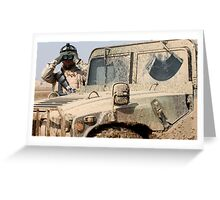 Soldier watching with Hummer Greeting Card