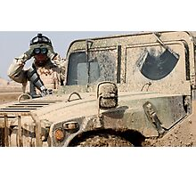 Soldier watching with Hummer Photographic Print