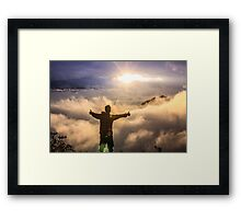 hiker celebrating Framed Print