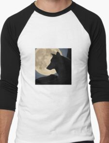 A Wolf in Front of the Moon Men's Baseball ¾ T-Shirt
