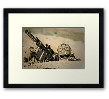 U.S. marine hiding from explosion Framed Print