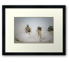 soldier walk aout from somke  Framed Print