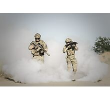 soldier walk aout from somke  Photographic Print