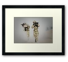 soldier walk aout from somke in front line in war  Framed Print