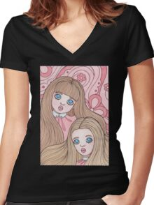Pink Dreamers Women's Fitted V-Neck T-Shirt