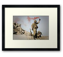 red somke from soldiers in front line  Framed Print