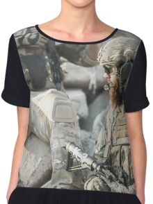 Two soldiers shielded the front lines Chiffon Top
