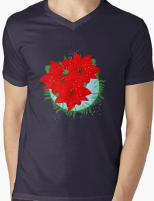Pretty Poinsettia Red Christmas Flowers Festive Floral Wreath Mens V-Neck T-Shirt