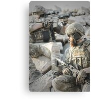 Two soldiers shielded the front lines Canvas Print