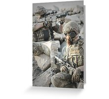 Two soldiers shielded the front lines Greeting Card