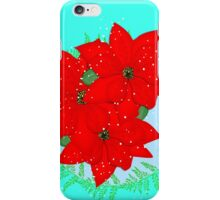 Pretty Poinsettia Red Christmas Flowers Festive Floral Wreath iPhone Case/Skin