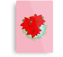 Pretty Poinsettia Red Christmas Flowers Festive Floral Wreath Metal Print