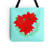 Pretty Poinsettia Red Christmas Flowers Festive Floral Wreath Tote Bag