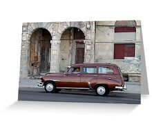 Old American car in La Habana, Cuba Greeting Card