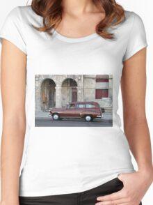 Old American car in La Habana, Cuba Women's Fitted Scoop T-Shirt