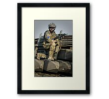 soldier shielded the front line Framed Print