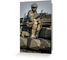 soldier shielded the front line Greeting Card