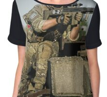 soldier in the front lines of war  Chiffon Top