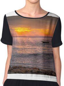 Evening sunset at sea Chiffon Top