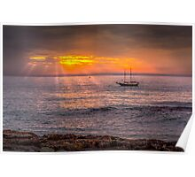 Evening sunset at sea Poster