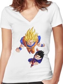 Super Saiyan Goku and Gohan - Dragon Ball Z Women's Fitted V-Neck T-Shirt