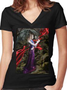 Pandora, Greek Mythological Goddess Women's Fitted V-Neck T-Shirt