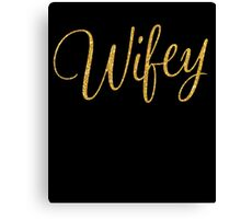 Black Wifey Gold Sequins Effect Canvas Print