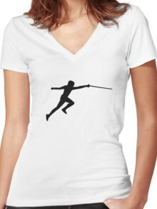 Fencing fencer Women's Fitted V-Neck T-Shirt