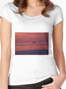 Boat at SUNRISE Women's Fitted Scoop T-Shirt