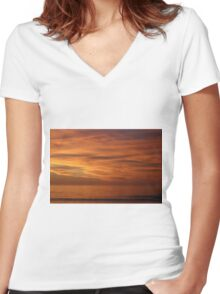 COLORS OF THE SKY Women's Fitted V-Neck T-Shirt
