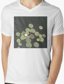 Lily Pad Cute Visitor - A Little Turtle Emerging Among The Waterlilies  Mens V-Neck T-Shirt