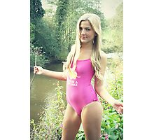 Cute Blonde Girl by the River Photographic Print