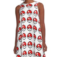 pokemon 8 bit pokeball A-Line Dress