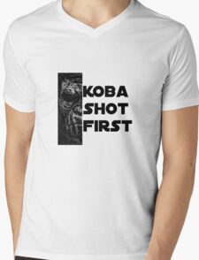 KOBA SHOT FIRST (BLACK LETTER) Mens V-Neck T-Shirt