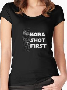 KOBA SHOT FIRST (WHITE LETTERS) Women's Fitted Scoop T-Shirt