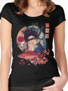 Collage Geisha Samurai in Coral, Indigo and Marsala Women's Fitted Scoop T-Shirt