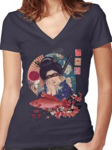Collage Geisha Samurai in Coral, Indigo and Marsala Women's Fitted V-Neck T-Shirt