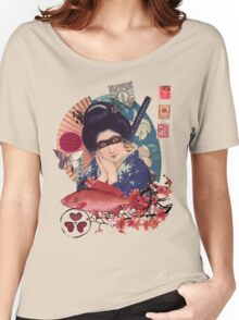 Collage Geisha Samurai in Coral, Indigo and Marsala Women's Relaxed Fit T-Shirt