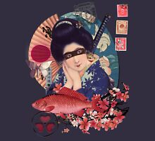 Collage Geisha Samurai in Coral, Indigo and Marsala Mens V-Neck T-Shirt