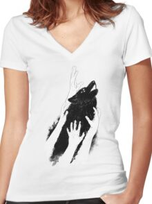 Wolves of Paris Women's Fitted V-Neck T-Shirt