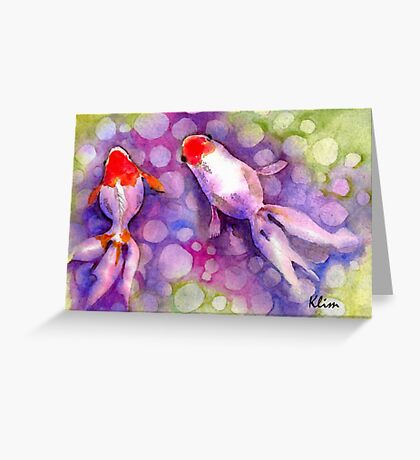Pair of Red Gold Greeting Card