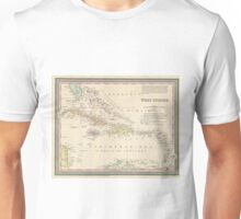 Vintage Map of The Caribbean (1850) Unisex T-Shirt