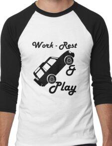 Mars Work Rest Play Land Rover (Parody) Men's Baseball ¾ T-Shirt