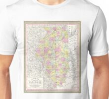 Vintage Map of Illinois (1850) Unisex T-Shirt
